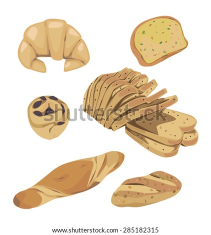 Vector of different types of bread and pastries