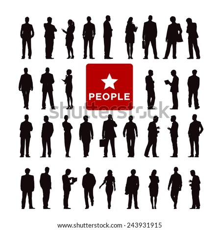 Vector of Diverse Business People's Silhouette - stock vector