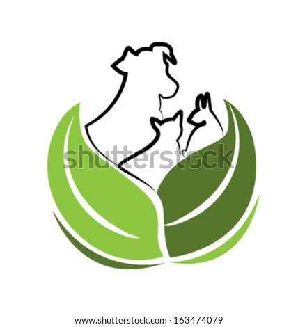 Vector of Dog Cat and Rabbit  - stock vector