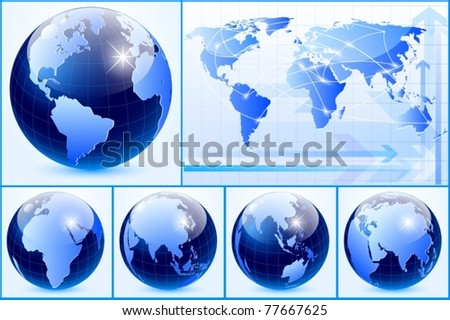 Vector of earth set with business card
