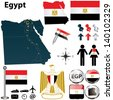 Vector of Egypt set with detailed country shape with region borders, flags and icons - stock photo