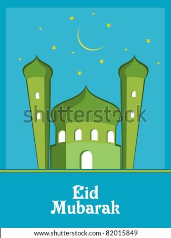 vector of eid mubarak greeting card - stock vector