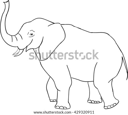 vector of elephant black and white