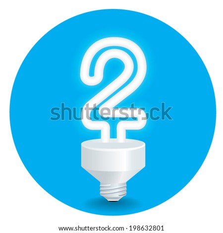 Vector of energy saving idea. Created a bulb shaped number 2  isolate on blue background.