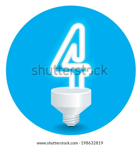 Vector of energy saving idea. Created a bulb shaped number 4  isolate on blue background.