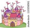 Vector of fairy tale castle for girl. - stock vector