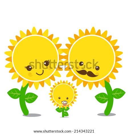 Vector of family smile sunflower, set happy flower - stock vector