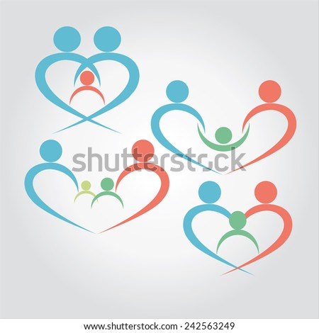 vector of family together with child. love,care,protect - stock vector