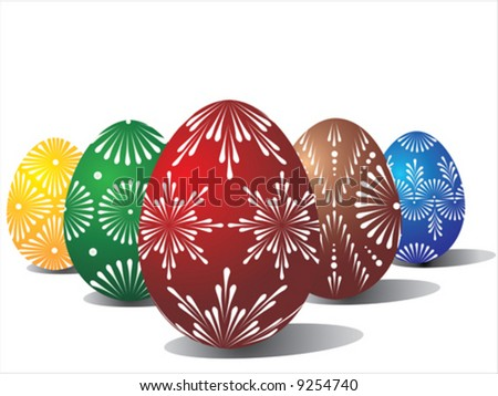 Vector of five coloured eggs on white background