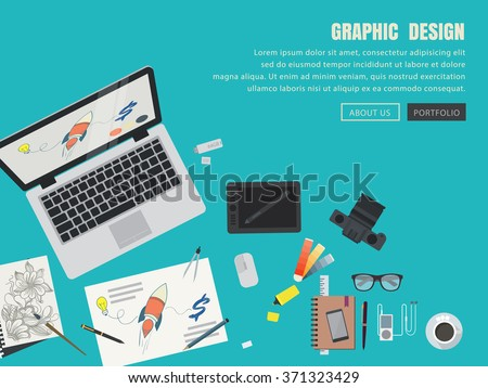 vector of flat design graphic concept for web banner.graphic design materials - stock vector