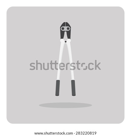 Vector of flat icon, bolt cutter on isolated background - stock vector
