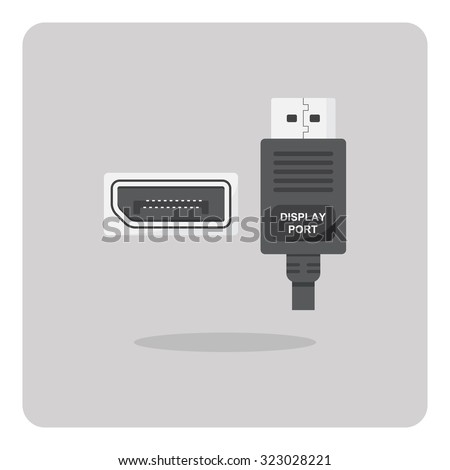 Vector of flat icon, display port connector on isolated background - stock vector