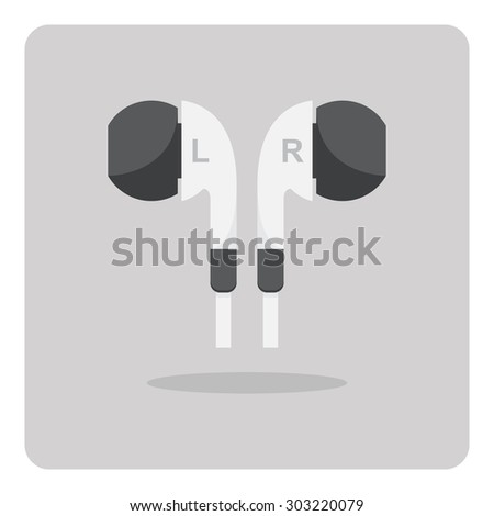 Vector of flat icon, earphones on isolated background - stock vector