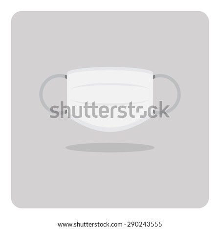 Vector of flat icon, medical mask on isolated background - stock vector