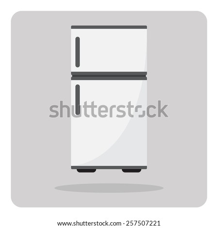 Vector of flat icon, refrigerator on isolated background - stock vector