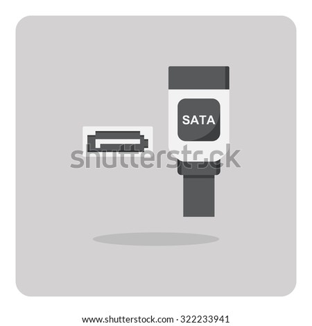 Vector of flat icon, SATA connector for computer on isolated background - stock vector
