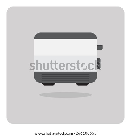 Vector of flat icon, toaster on isolated background - stock vector