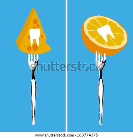 Vector of Foods For Healthy Teeth, Illustrator, Clean Eating Concept. - stock vector