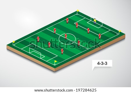 vector of football formation tactic 4-3-3 - stock vector