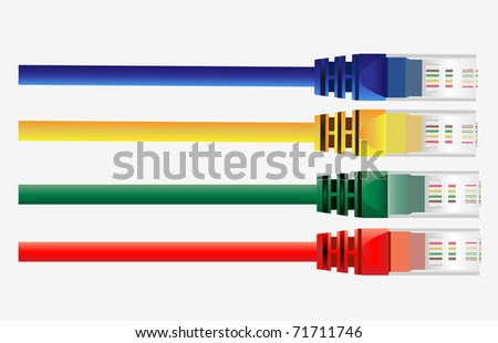Vector of four  color  cables. Red, Yellow, Green, Blue Color - stock vector