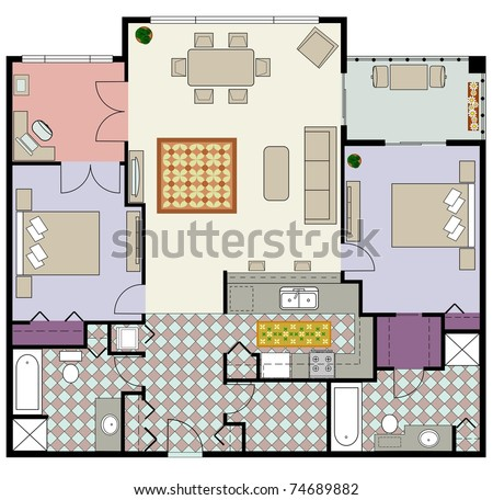 Vector of furnished two-bedroom condo with office - stock vector
