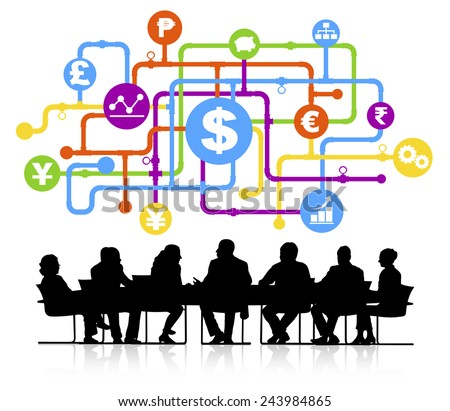 Vector of global finance themed background with silhouettes of business people sitting around the conference table. - stock vector