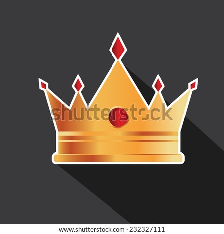 Vector of golden crown with long shadow - stock vector
