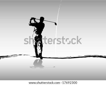 Vector of golfer driving in silhouette in gray - stock vector