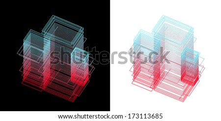 vector of graphical  building - stock vector