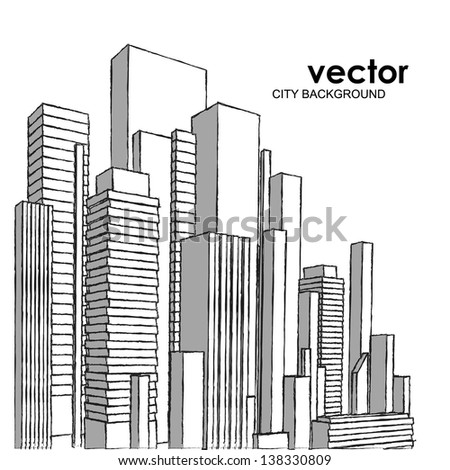 Vector of graphical urban cityscape (sketchy pencil strokes) - stock vector