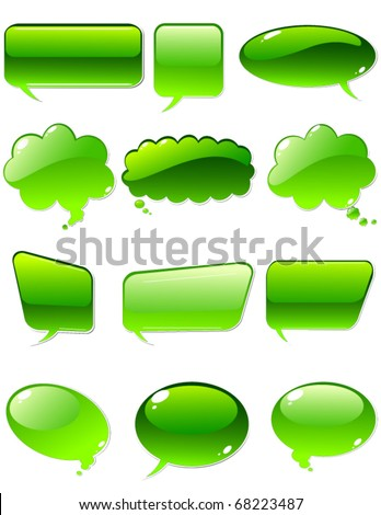 vector of green chat elements - stock vector
