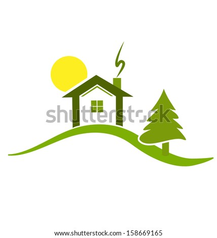 Vector of Green house icon background - stock vector