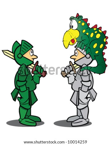 vector of green knight looking at monster that is sitting on the helmet of another knight