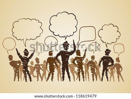 Vector of group of people with chat bubbles (doodle art) - stock vector