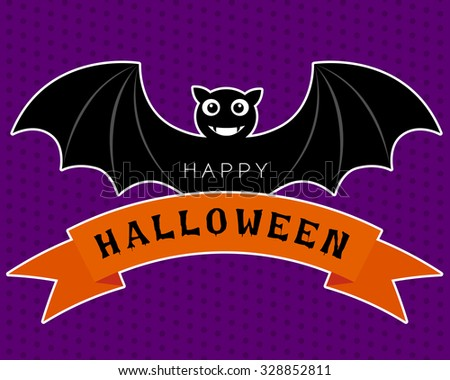 Vector of halloween bat in cute cartoon characters design is smiling and wings on the orange ribbon on a purple background. - stock vector