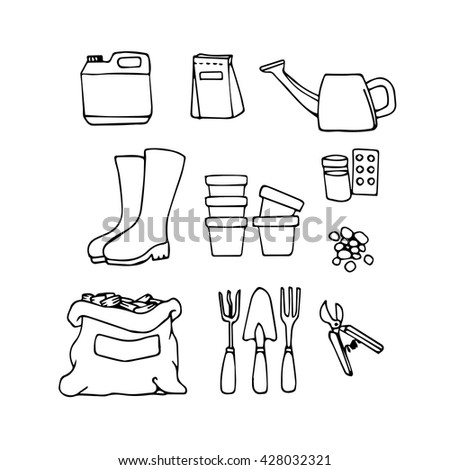 Garden drawing stock images royalty free images vectors for Gardening tools drawing