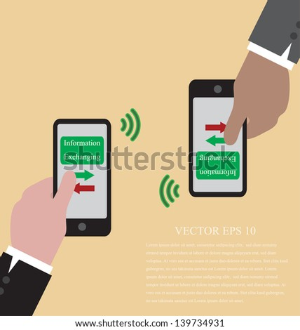 Vector of Hand with smart phone  are exchanging data via wifi - stock vector