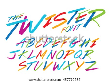 Vector of hand writing font and alphabet - stock vector