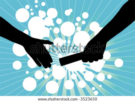 vector of handing baton from one person to another symbolizing partnership - stock vector