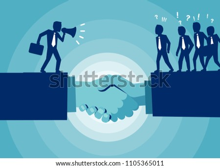 Vector Handshake Communication Between Politician Crowd Stock Vector