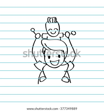 Vector of happy father and son playing with love for Father's day