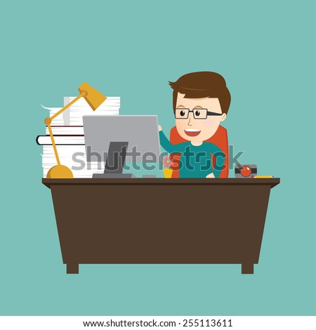 Vector of happy man working on workstation desk - stock vector