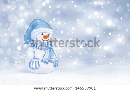 Vector of happy snowman on snowfall background. - stock vector