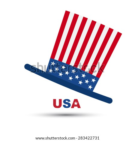 Vector of hat in American flag color - stock vector