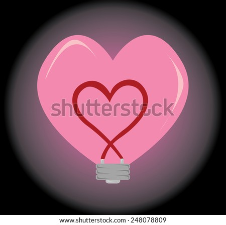 Vector of Heart shape bulb with the Hearth inside for background - stock vector