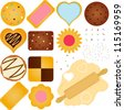 Vector of homemade Cookies and Biscuit with chocolate, jam, other toppings plus a Dough with wooden rolling pin. A set of cute and colorful icon collection isolated on white background - stock vector