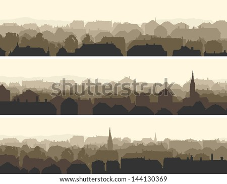 Vector of horizontal banners abstract of old historic European city. - stock vector
