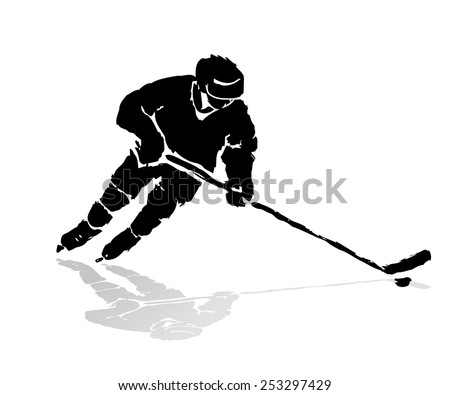 vector of ice grunge hockey player silhouette.  winter sports - stock vector