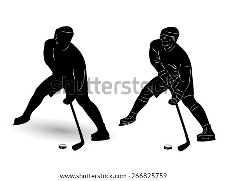 vector of ice hockey player silhouette. black draw and white background  - stock vector