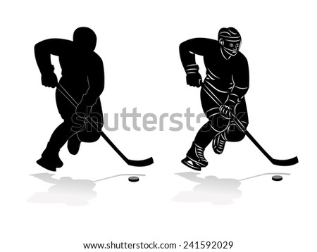 vector of ice hockey player silhouette, winter sports - stock vector